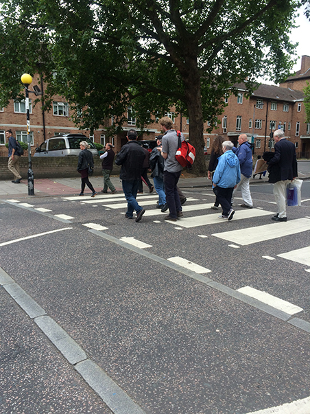From Martyrs to Modernism Heritage Talk and Walk crossing Thurlow Street 2015. Photo JUlia Honess