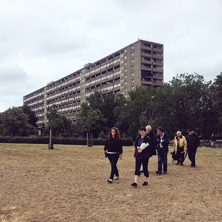 From Martyrs to Modernism walk through Burgess Park showing Wendover. phot Julia Honess