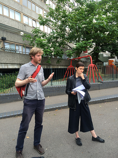 From Martyrs to Modernism walk throughHeritage Talk and Walk Anna Ludwig and Rufus Willis of Cottrell & Vermeulen, Wendover Aylesbury Estate 2015.Photo Julia Honess