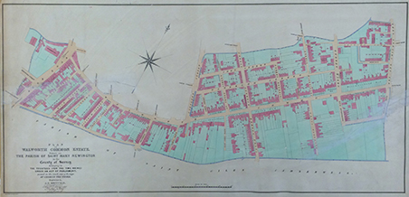 Map of Walworth Common Estate 1842 with kind permission of the Southwark Local History library and Archive
