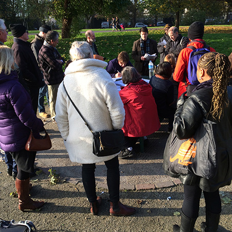Heritage Talk by the site of the North Camberwell Radical Club, Radical Club, Burgess Park 2016