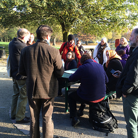 Heritage Talk near the site of the North Camberwell Radical Club , Radical Club, Burgess Park 2016